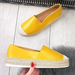 Żółte Espadryle  Eko-Skóra 9381