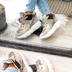 Kolorowe Adidasy Na Koturnie - Beżowy Wąż 8445