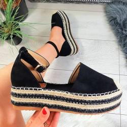 Czarne Zamszowe Sandały Espadryle 8800