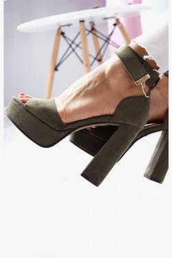 Sandały AMELIA Zielone na Słupku