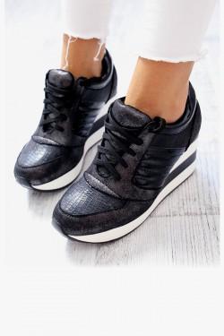 Sneakersy AKADIA Czarne Połyskujące Koturn w Paski 6970