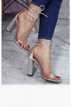 Satynowe Beżowe Sandały na Cyrkoniowym Słupek 7230
