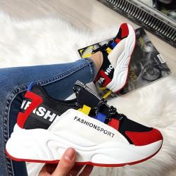 Czarne Adidasy Czerwony Zamszowy Nosek 8384
