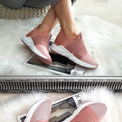 Różowe Siatkowe Wsuwane Adidasy 2 Gumy 8331