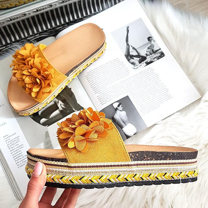 Żółte Zamszowe Klapki Pasek w Kwiatki 8333