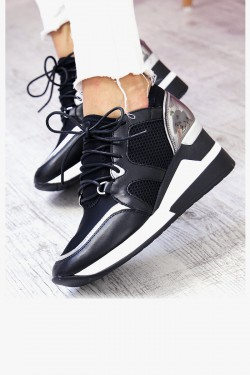 Trampki Czarne Adidasy na Koturnie 7339