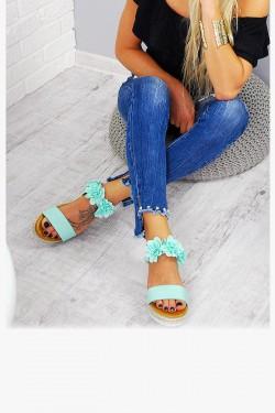 Sandały Miętowe Pasek w Kwiatki 7798