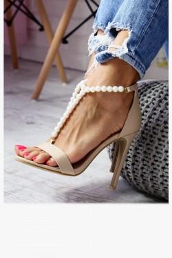 Sandały VANESSA Beżowe - Perełki