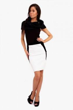 Dwukolorowa spódniczka mini Hips White