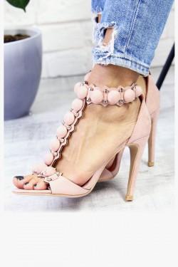 Różowe Zamszowe Sandały Pompony 7296