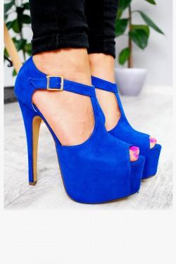 Sandały Niebieskie Platforma Zamsz 7593