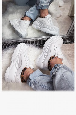 Trampki Sneakersy Białe Adidasy - Panterkowa Wstawka 8157