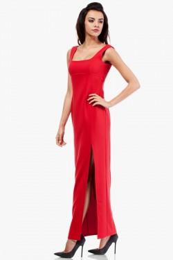Sukienka maksi z rozcięciem na boku czerwona