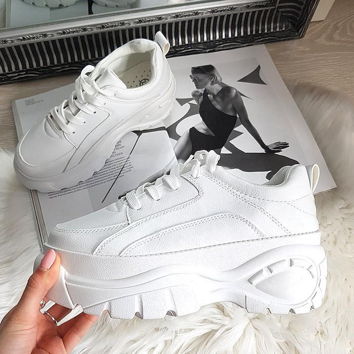 Białe Sznurowane Modne Sportowe 8343