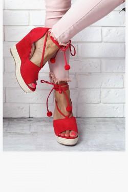 Sandały LEA Czerwone Koturny z Wiązaniem