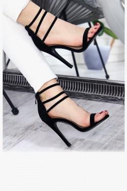 Czarne Zamszowe Sandały 7313