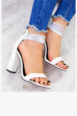 Sandały Białe Delikatne Gumeczki Zamsz 7541