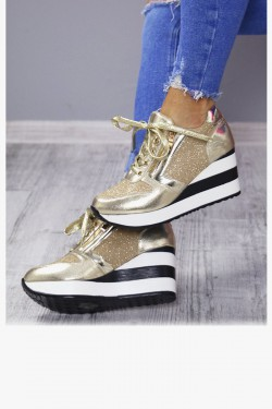 Sneakersy Leo Złote Koturny 7170