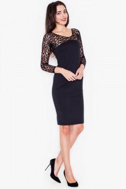 Koronkowa sukienka Leopard Lace Black