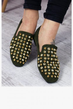 Zielone Loafersy w Złote Cyrkonie Lordsy 7207