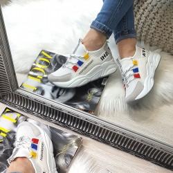 Białe Adidasy Szary Zamszowy Nosek 8389