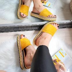 Zamszowe Klapki Wiosenny Żółty 8270