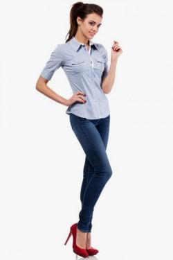 Klasyczna taliowana koszula z krótkim rękawem niebieska