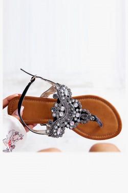 Sandały AURORA Czarne Japonki Zdobione Cyrkoniami