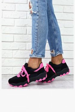 Trampki Czarne Adidasy Neonowa Sznurówka 7865