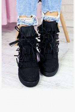 Czarne Sneakersy z Frędzlami Zamszowe Koturny 7270