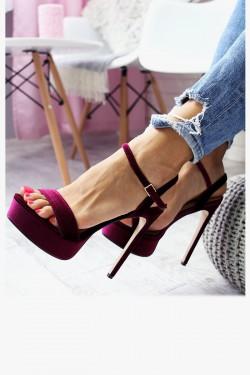 Sandały CECILIA Śliwkowe - Pasek na Kostkę