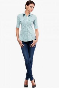 Klasyczna taliowana koszula z krótkim rękawem zielona