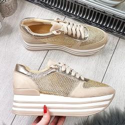 Ażurowe Adidasy na Koturnie Złote  9361
