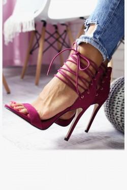 Sandały LISA Fioletowe na Szpilce - Gorset