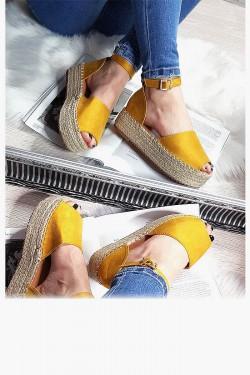 Żółte Zamszowe Espadryle na Platformie 8301