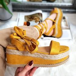 Żółte Sandały Na Platformie Wiązane Na Kostce 8313