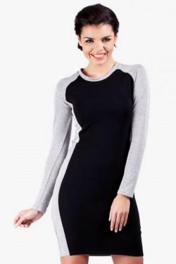 Klasyczna  dwukolorowa sukienka Sophie 2 mini black/grey