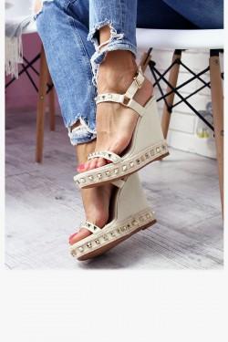 Sandały NEOMI Beżowe Złote Ćwieki Jeans