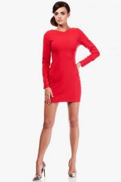Mini sukienka z dekoltem i wycięciem na plecach czerwona