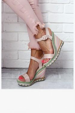 Sandały PAULA Beżowe Kolorowa Koturna