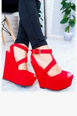 Czerwone Sandały Zamszowe Koturny 7591